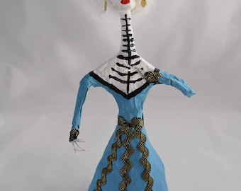 Dia De Los Muertos Catrinas Hechas A Mano-Day of The Dead Handmade Mache Dolls