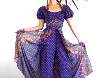 70s Adini Caftan, Split Skirt romper, Boho Jumpsuit, Hippie romper, Harem Pants, 1970s Maxi Dress, Indian block print, Cotton gauze dress, M