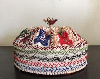 Hand Embroidered Cotton Colorful Jewish Yarmulke Hat / Kippah