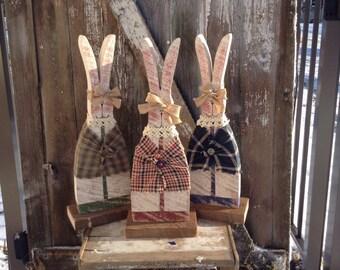 Primitive decor, Country Primitive, Wood Bunny, Primitive bunnies, bunny, rabbit, Easter Decor, spring decor, primitive wood rabbit