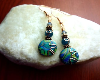 Turquoise Blue and Copper Wire Wrapped Polymer Clay Earrings