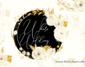 "Floral clipart, Wedding clipart, ""Floral clipart"", Wedding floral clipart, Watercolor flower clipart White wedding floral Wedding invitation"