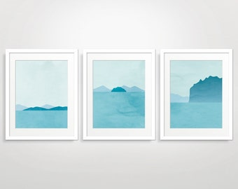 Beach Print Set of 3, Teal Wall Art, Bathroom Wall Decor, Art Prints Abstract, Blue Wall Art, Ocean Print, Blue Abstract Art, Minimalist Art