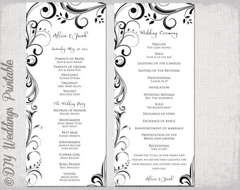 Wedding program template Navy Blue DIY printable order of