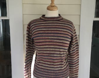 Vintage 70's Rainbow Space Dye Striped Sweater