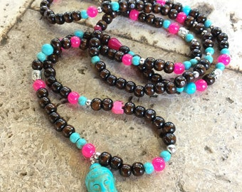 Long bohemian necklace hippie 76cm wood silver turquoise Buddha