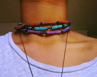 Choker tube paper beads necklace/hand painted ,african jewelry, punk,one of a kind.