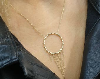 Twisted Circle 14k Solid Gold Necklace