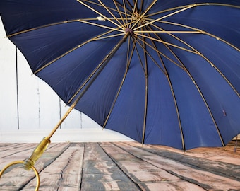Vintage Umbrella, Navy Blue, Gold and Acrylic Handle, All Nylon, Room Decor, Spring and Summer, Baby Shower, Bridal Shower, Theater Prop