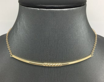 14K Yellow Gold Long Bar Necklace