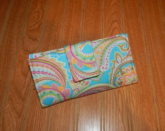 Wallet - Womens Wallet - Fabric Wallet - Checkbook Cover - Card Slots - Cash Wallet- Gift - Gift for Her - Ready to Ship