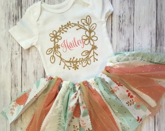 Coral and Mint First Birthday Outfit // Shabby Chic First Birthday Outfit // Number Birthday Outfit // Vintage Birthday Outfit //