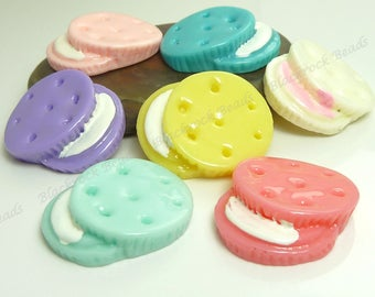 Cookie Scrapbook Embellishments - 24x19mm - Resin Flatback Cabs - 6pcs - Assorted Colors - BP26