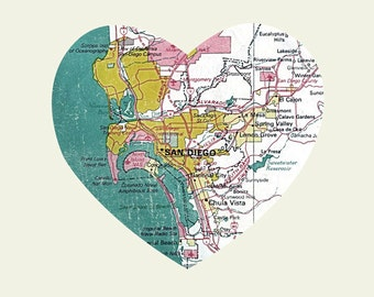San Diego Art City Heart Map - 8x10 Art Print California