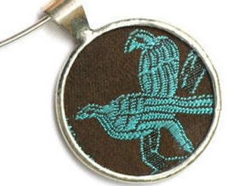 Teal Birds Silk Pendant by Shi Studio Size Circle Shape