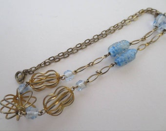 Vintage Art Deco Necklace Beautiful Ice Blue Glass Beads & Goldtone Chain and Wire Cage Costume Jewellery Jewelry Gift