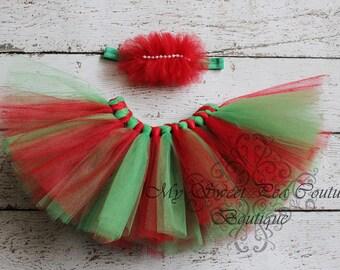 Holiday Tutu & Headband Set- Christmas Outfit- Princess Tutu- Christmas Tutu- Baby Tutu- Red and Green Tutu- Tutu- Newborn Tutu- Photo Prop