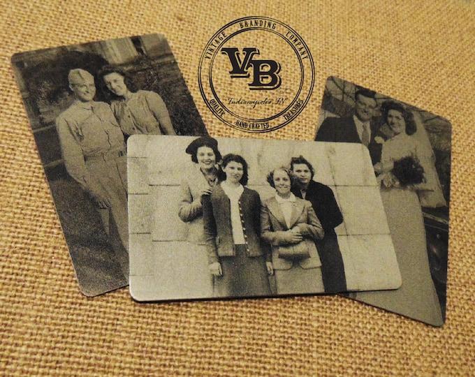 Vintage Picture Engraved Wallet Insert - Remembrance Card - Back Engraving Too - Him or Her - Laser Engraved - Handwritten Wallet Insert