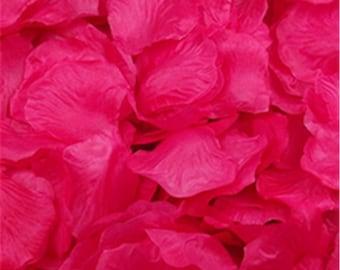 100 Hot Pink Artificial Rose Silk Petal For Wedding/Parties/Crafts