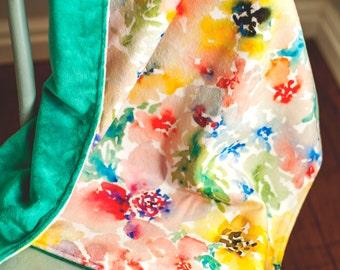 Minky Baby Blanket. Baby Girl Blanket. Baby Shower Gift. Floral Baby Bedding. Baby Girl Gift. Girl Minky Blanket. Watercolor Flowers.