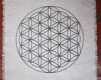 "Sacred Geometry Flower of life Crystal Grid Altar Cloth 15"" hand printed linen grid"