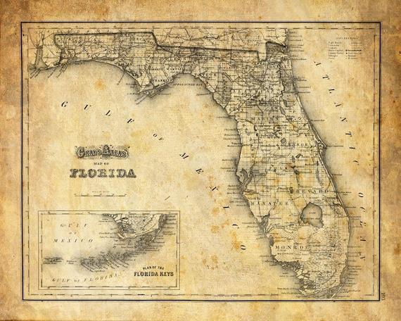 Florida Map Vintage Print Poster Grunge 2