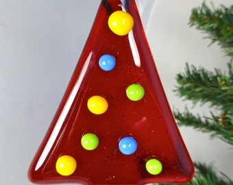 Fused Glass Christmas Tree Decoration - Contemporary Style - Red with Multi Coloured Bauble Decorations