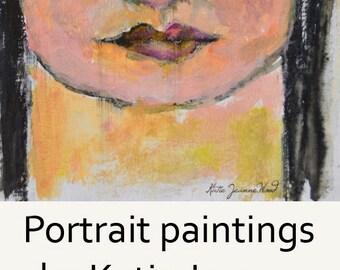 Acrylic Portrait Art Painting. 4x4 Portrait Miniature Painting. Original Artwork. Young Woman Art.
