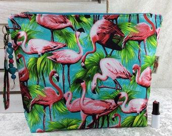 Handmade Giant Zipper Case Zip Pouch fabric Bag Purse Flamingos