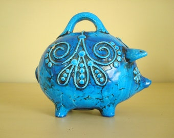 Flower power piggy bank, blue piggy bank, Fitz & Floyd papier mache bank, psychedelic 1960s mod saving bank, groovy sixties embellishment