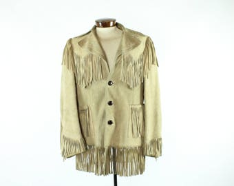 70s Easy Rider Fringe Jacket Tan Suede Hippie Boho Hipster Western Coat Vintage 1970s Mens Size Medium M Washington