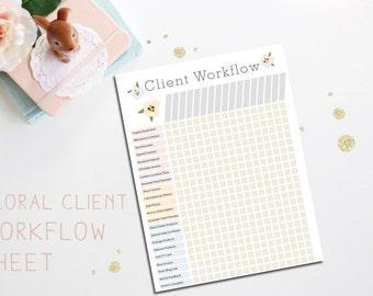 Floral Client Workflow Chart Wedding Newborn Portrait Photographers Photography Business Tool Instant Download