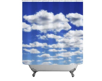 Clouds In Sky-Blue & White Shower Curtain-Sky Shower Curtain-Clouds Bath Curtain-Dreamy Bathroom Decor-Blue Bath Decor-Cottage Chic Bathroom