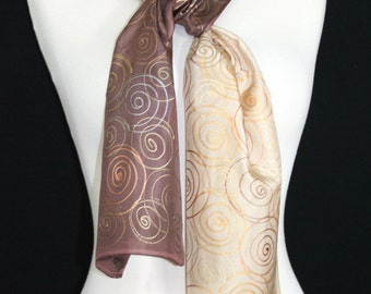 Tan Silk Scarf. Golden Terracotta Hand Painted Shawl. Brown Handmade Silk Scarf TOFFEE CREAM. 8x54. Birthday, Anniversary Gift. Gift Wrapped