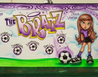 Airbrush Soccer Sports Team Banners Personalized Airbrush Banners