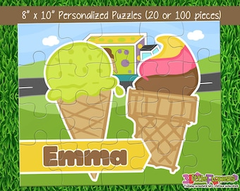 "Personalized Ice Cream Puzzle - Personalized 8"" x 10"" Puzzle - Personalized Name Puzzle - Personalized Children Puzzle - 20 pieces puzzle"