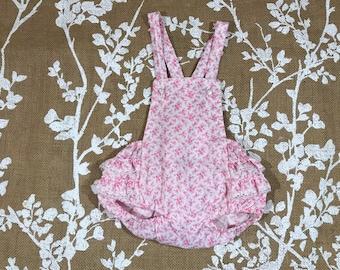 Pink Floral Vintage Sunsuit 9m Bubble Romper Baby Girls