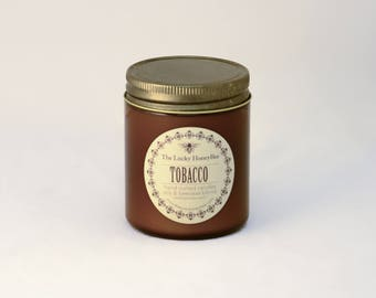 Tobacco Candle || 8.5 oz Scented Candle || Soy + Beeswax Blend Candle in Amber Jar