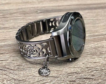 Gunmetal Bracelet for Huawei Watch Handmade Jewelry for Huawei Watch 2 Classic Band CZ North Star Bracelet Adjustable Huawei Watch 2 Bangle