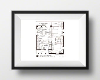 I Love Lucy Ethel and Fred Mertz Apartment TV Show Floor Plan - Blackline Art Print - Wall Decor - NBC Today Show Featured Artist!
