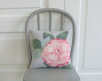 Vintage Pillow Cushion Floral Flower Pink Rose Shabby Cottage Chic Girl Fabric Ticking