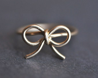 TINY BOW 14k Yellow gold filled wire wrap ring