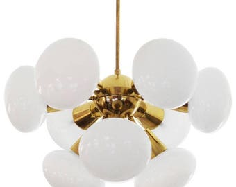 Midcentury Sputnik Milk Glass Chandelier