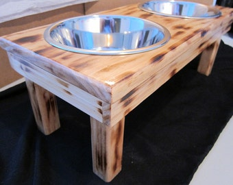 4 Post Leg Elevated Food Dish Holder - Medium 64oz Bowls