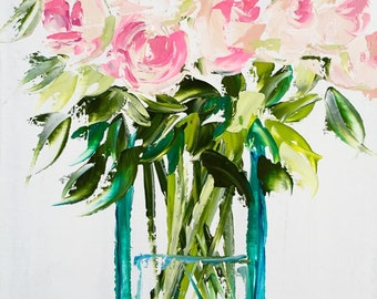"""Original oil painting - vase of flowers - floral, still life, palette knife painting, impressionism 11""""x14"""""""