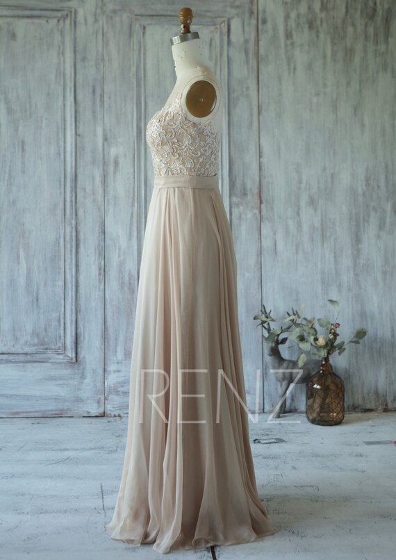 Champagne Bridesmaid Dress Tulle Illusion Wedding Dress
