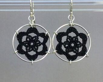 Peony doily earrings, black silk thread, sterling silver