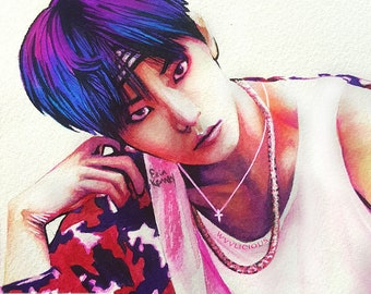 Doyoung Watercolor Print CHERRY BOMB NCT 127