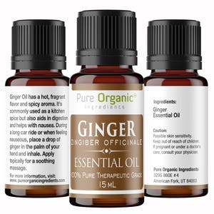 Ginger Pure Essential Oil 15 ml by Pure Organic Ingredients, Reduces Nausea, Aids Digestion, Hot, Spicy Aroma, Food Safe, Dropper Bottle