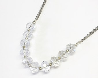 Clear Glass Beaded Necklace